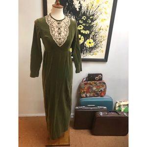 Vintage crushed velvet lace dress